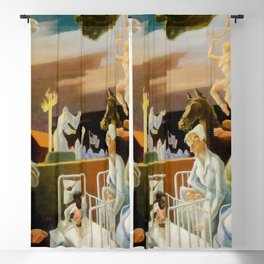 Classical Masterpiece 'A Social History of Indiana' by Thomas Hart Benton Blackout Curtain