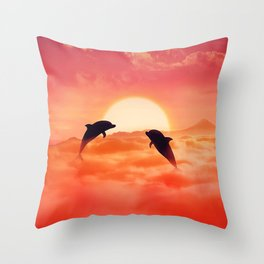 flying dolphins sunset Throw Pillow