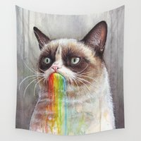 meme Wall Tapestries featuring Cat Tastes the Grumpy Rainbow | Watercolor Painting by Olechka