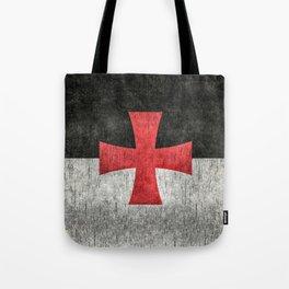 Knights Templar Flag in Super Grunge Tote Bag