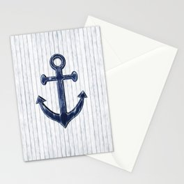 Rustic Anchor in navy blue Stationery Cards