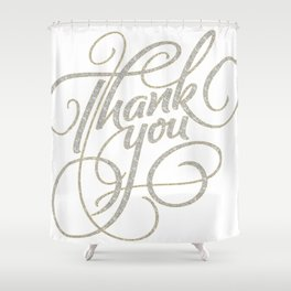 Thank You Modern Scrip Typography Design Shower Curtain