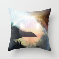 stay gold Throw Pillows featuring stay gold by Kiki collagist