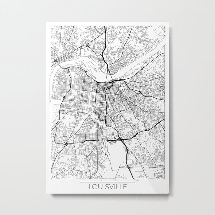 Louisville Map White Metal Print