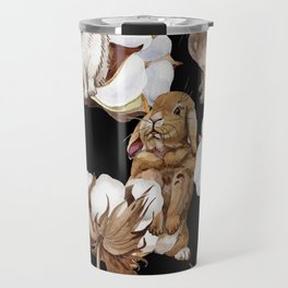 Cotton Flower & Rabbit Pattern on Black 01 Travel Mug