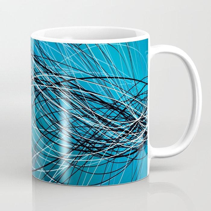 Cyan Swirling Lines Coffee Mug