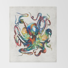 Colorful Octopus Art by Sharon Cummings Throw Blanket