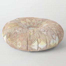 DESERT QUEEN - Bronze Mandala on Gold Floor Pillow