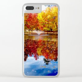 Autumn on the pond Clear iPhone Case