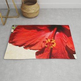 Avant-Garde Red Hibiscus Flower Close-Up Art Photo Rug