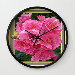 CLUSTERED PINK ROSES YELLOW-GREY ART Wall Clock