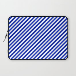Small Cobalt Blue and White Candy Cane Stripe Laptop Sleeve