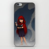 red riding hood iPhone & iPod Skins featuring Little Red Riding Hood by Fernanda Suarez