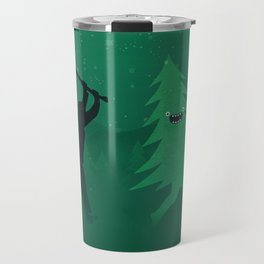 Funny Cartoon Christmas tree is chased by Lumberjack / Run Forrest, Run! Travel Mug