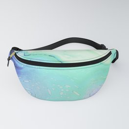 Marble azure texture Fanny Pack