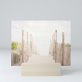 Beach Photography, Coastal Dunes Art, Neutral Seashore Photo, Beach Fence, Seaside Coast Picture Mini Art Print