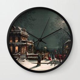 Christmas vintage  illustration Wall Clock