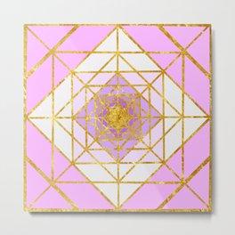 Gold Plated Preppy Pink Mandala Metal Print