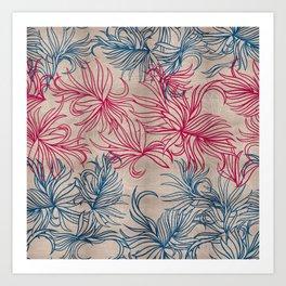 Pink and blue blades Art Print