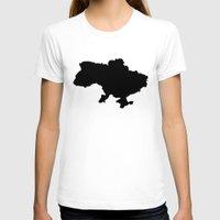 ukraine T-shirts featuring UKRAINE SIMPLE MAP by DEAD RINGER DESIGN