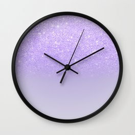 Modern purple sparkles ombre glitter lilac pastel color block Wall Clock