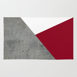 Concrete Burgundy Red White Rug