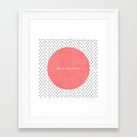 dots Framed Art Prints featuring HELLO BEAUTIFUL - POLKA DOTS by Allyson Johnson