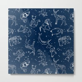 Origami Constellations - geometric animals constellations design - navy blue Metal Print