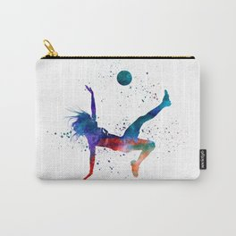 Woman soccer player 08 in watercolor Carry-All Pouch