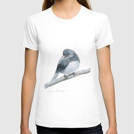 The Bashful Black-Eyed Junco by Teresa Thompson T-shirt