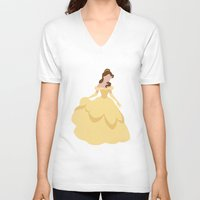 belle V-neck T-shirts featuring Belle by Dewdroplet