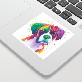 Rainbow Boxer Dog breeed Sticker