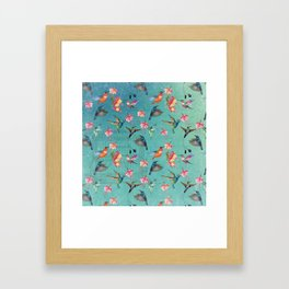 Vintage Watercolor hummingbirds and fuchsia flowers Framed Art Print