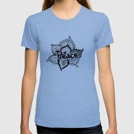 Peace lotus Motto saying mandala floral pattern T-shirt
