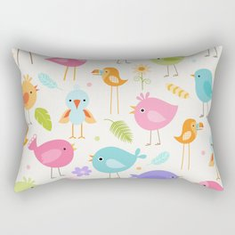 Birds - Off White Rectangular Pillow