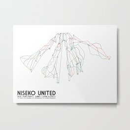 Niseko United, Japan - Japan Edition - Minimalist Trail Art Metal Print
