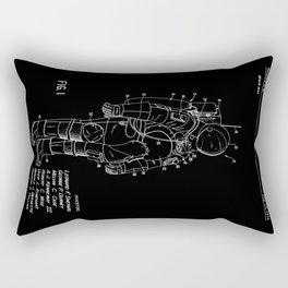 NASA Space Suit Patent - White on Black Rectangular Pillow