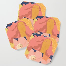 Women with eyebrow in the desert with flowery coat Coaster