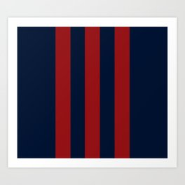 Navy Three Red Bars Art Print