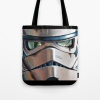stormtrooper Tote Bags featuring Stormtrooper by Mel Hampson