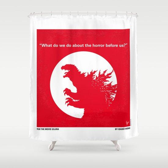 No029-1 My Godzilla 1954 minimal movie poster Shower Curtain