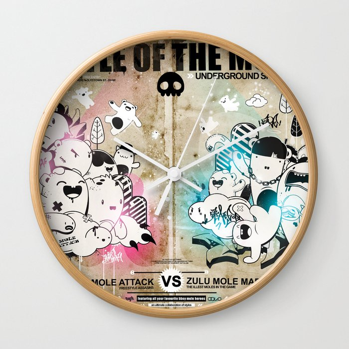 Battle of the moles Wall Clock
