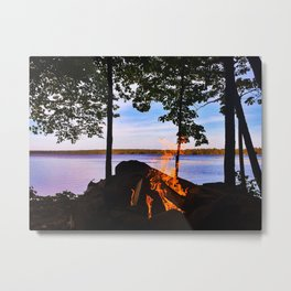 Campfire on Lake Pemaquid, Maine Metal Print