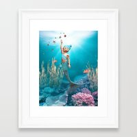 the little mermaid Framed Art Prints featuring Little Mermaid by Simone Gatterwe