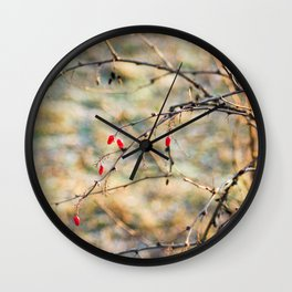 Winter Berries Wall Clock
