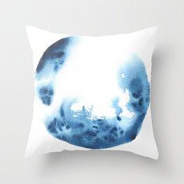 Watercolor Circle Abstract Simple | Blue Blob May 26 Throw Pillow