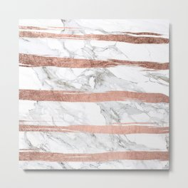 Modern chic faux rose gold brush stripes white marble Metal Print