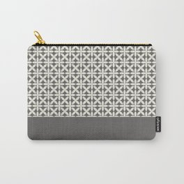 Pantone Cannoli Cream Square Petal Pattern on Pantone Pewter Carry-All Pouch