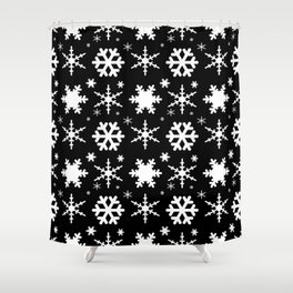 Snowflakes Black Shower Curtain