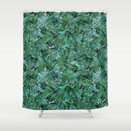 Tropical Palm Tree Leaf Pattern - Purple BG Shower Curtain